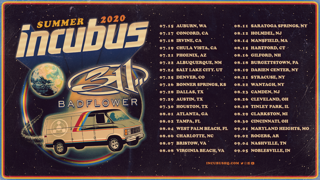 Incubus 2020 Tour Poster